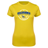 Ladies Syntrel Performance Gold Tee-Roadrunner Basketball Arched w/ Ball