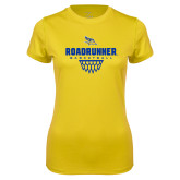 Ladies Syntrel Performance Gold Tee-Roadrunner Basketball Net Icon
