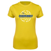 Ladies Syntrel Performance Gold Tee-Roadrunner Basketball Lined Ball