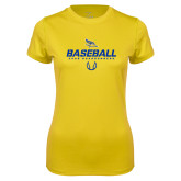 Ladies Syntrel Performance Gold Tee-Baseball Stencil w/ Ball
