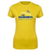 Ladies Syntrel Performance Gold Tee-CSUB Roadrunners Baseball Seam