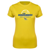 Ladies Syntrel Performance Gold Tee-CSUB Roadrunners Volleyball Stacked
