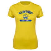 Ladies Syntrel Performance Gold Tee-CSU Bakersfield Roadrunners Arched Volleyball
