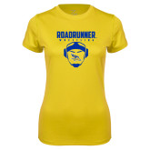 Ladies Syntrel Performance Gold Tee-Roadrunner Wrestling w/ Headgear