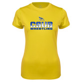 Ladies Syntrel Performance Gold Tee-CSUB Wrestling Stencil