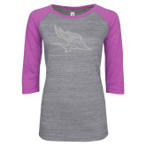 ENZA Ladies Athletic Heather/Violet Vintage Baseball Tee-Primary Logo White Soft Glitter