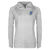 Ladies Sport Wick Stretch Full Zip White Jacket-B Embroidery