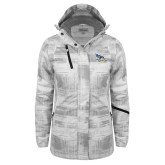 Ladies White Brushstroke Print Insulated Jacket-Primary Logo Embroidery