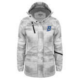 Ladies White Brushstroke Print Insulated Jacket-B Embroidery