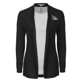 Ladies Black Open Front Cardigan-Primary Logo Embroidery