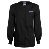 Ladies Black Snap Front Warm Up Scrub Jacket-CSU Bakersfield Roadrunners