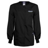 Ladies Black Snap Front Warm Up Scrub Jacket-CSU Bakersfield Roadrunners