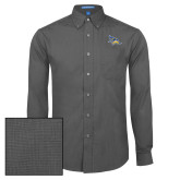 Mens Dark Charcoal Crosshatch Poplin Long Sleeve Shirt-Primary Logo Embroidery