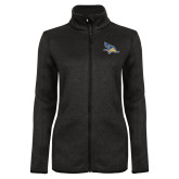 Black Heather Ladies Fleece Jacket-Primary Logo Embroidery