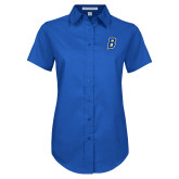 Ladies Royal Twill Button Up Short Sleeve-B Embroidery