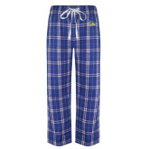 Royal/White Flannel Pajama Pant-Primary Logo Embroidery
