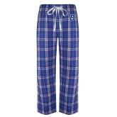 Royal/White Flannel Pajama Pant-B Embroidery