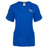 Ladies Royal Two Pocket V Neck Scrub Top-Primary Logo