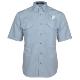Light Blue Short Sleeve Performance Fishing Shirt-B