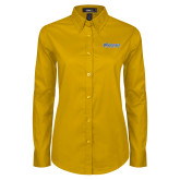 Ladies Gold Twill Button Down Long Sleeve-CSU Bakersfield Roadrunners