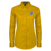 Ladies Gold Twill Button Down Long Sleeve-B