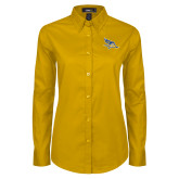 Ladies Gold Twill Button Down Long Sleeve-Primary Logo Embroidery