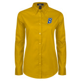 Ladies Gold Twill Button Down Long Sleeve-B Embroidery