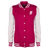 Ladies Pink Raspberry Fleece Letterman Jacket-B