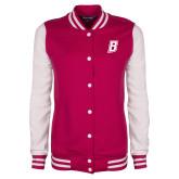 Ladies Pink Raspberry/White Fleece Letterman Jacket-B