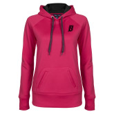 Ladies Pink Raspberry Tech Fleece Hooded Sweatshirt-B