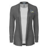 Ladies Heather Grey Open Front Cardigan-Primary Logo