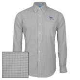 Mens Charcoal Plaid Pattern Long Sleeve Shirt-Primary Logo Embroidery