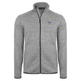 Grey Heather Fleece Jacket-Primary Logo Embroidery