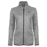Grey Heather Ladies Fleece Jacket-Primary Logo Embroidery