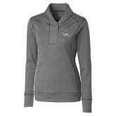 Ladies Cutter & Buck Shoreline Charcoal 1/2 Zip-Primary Logo Embroidery