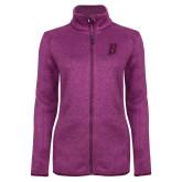 Dark Pink Heather Ladies Fleece Jacket-B