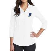 Ladies Red House White 3/4 Sleeve Shirt-B Embroidery