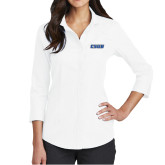 Ladies Red House White 3/4 Sleeve Shirt-CSUB Embroidery
