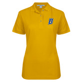 Ladies Easycare Gold Pique Polo-B Embroidery