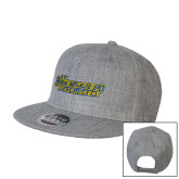 Heather Grey Wool Blend Flat Bill Snapback Hat-CSU Bakersfield Roadrunners