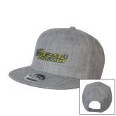 Heather Grey Wool Blend Flat Bill Snapback Hat-CSU Bakersfield Roadrunners
