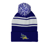 Royal/White Two Tone Knit Pom Beanie with Cuff-Primary Logo