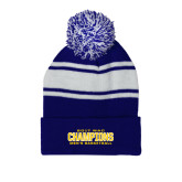 Royal/White Two Tone Knit Pom Beanie with Cuff-2017 WAC Champions - Mens Basketball Stacked