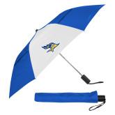 42 Inch Slim Stick Royal/White Vented Umbrella-Primary Logo