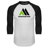 White/Black Raglan Baseball T Shirt-Marastar
