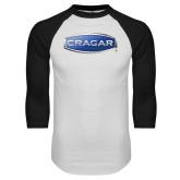 White/Black Raglan Baseball T Shirt-Cragar
