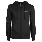 ENZA Ladies Black Fleece Full Zip Hoodie-ITP