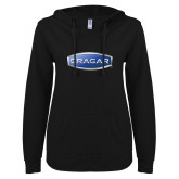 ENZA Ladies Black V Notch Raw Edge Fleece Hoodie-Cragar