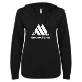 ENZA Ladies Black V Notch Raw Edge Fleece Hoodie-Marastar