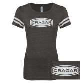 ENZA Ladies Black/White Vintage Football Tee-Cragar White Soft Glitter